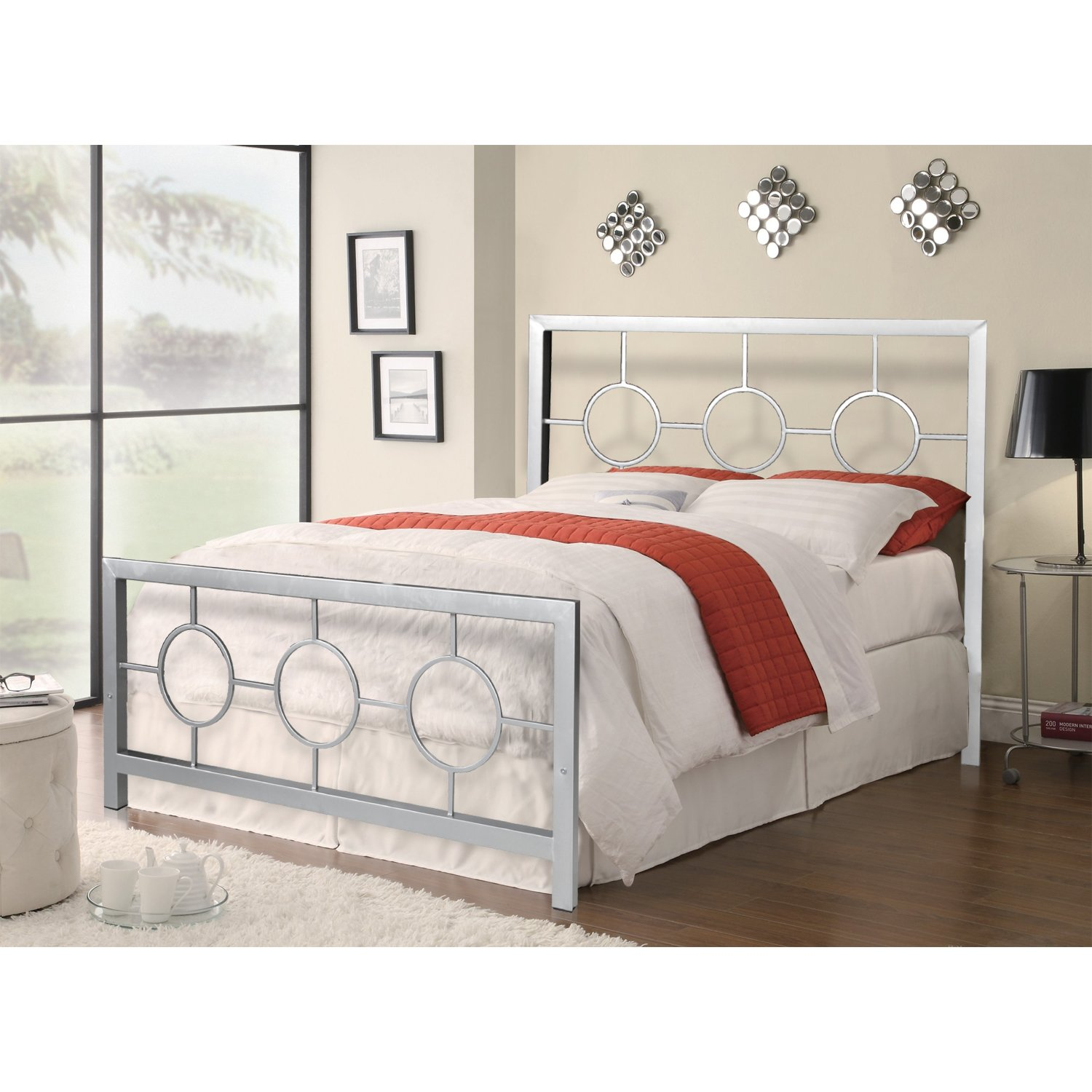 Amazon.com: Home Source Industries 13161 Queen Metal Bed Frame with ...