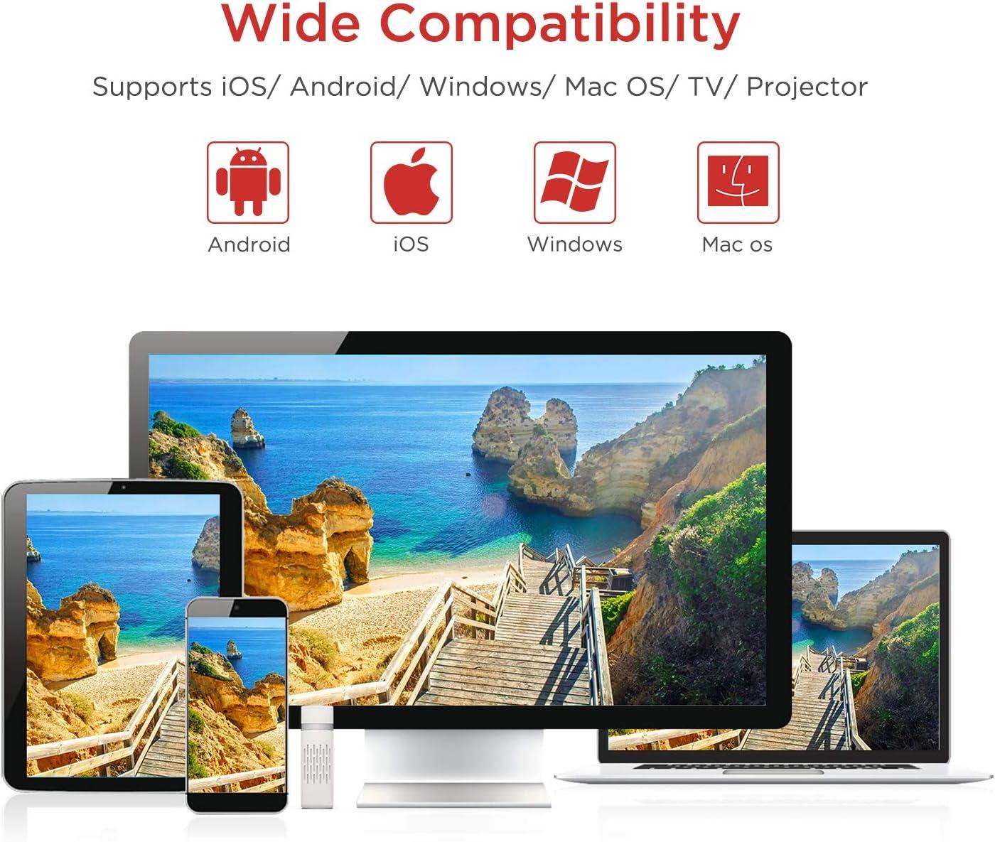 BOMAKER WiFi Display Dongle Inalámbrico, 5GHz+2.4GHz WiFi Adaptador, Receptor Full HD 1080P, Miracast Sincronización de Pantalla para Android/iOS/iPad/Mac/Laptop a Proyector/TV: Amazon.es: Electrónica