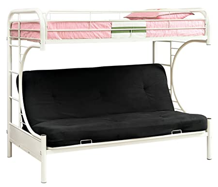 Furniture of America Metal Twin Over Futon Bunk Bed, Twin, White