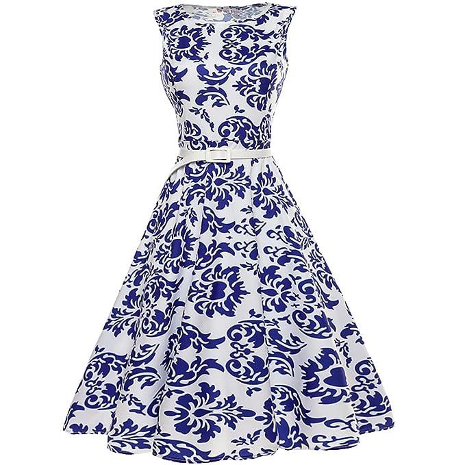 Cliont Vestido de las mujeres azul y blanco porcelana de impresión de patrón de cóctel vestidos