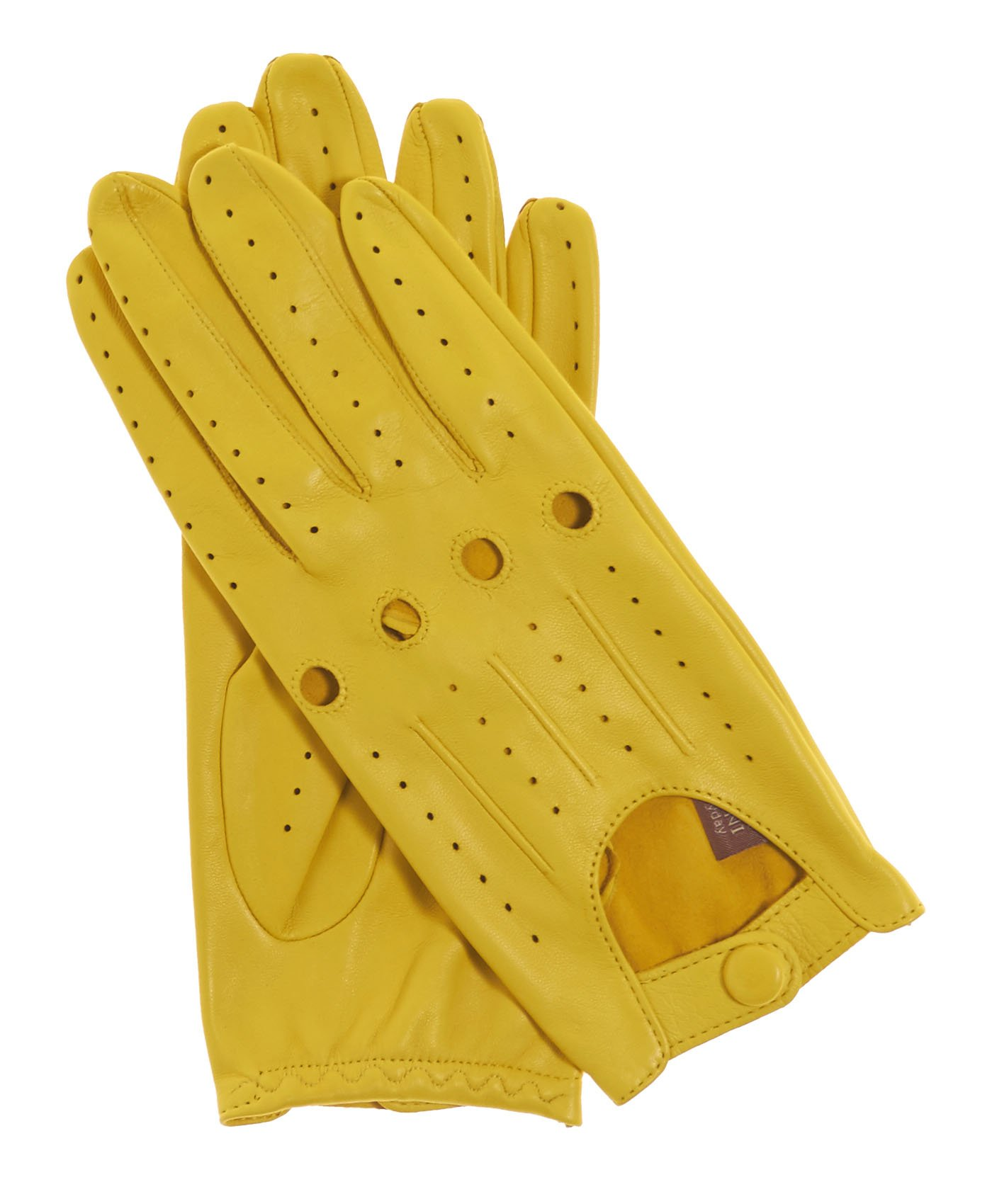 Fratelli Orsini Everyday Women's Open Back Leather Driving Gloves Size 8 Color Yellow