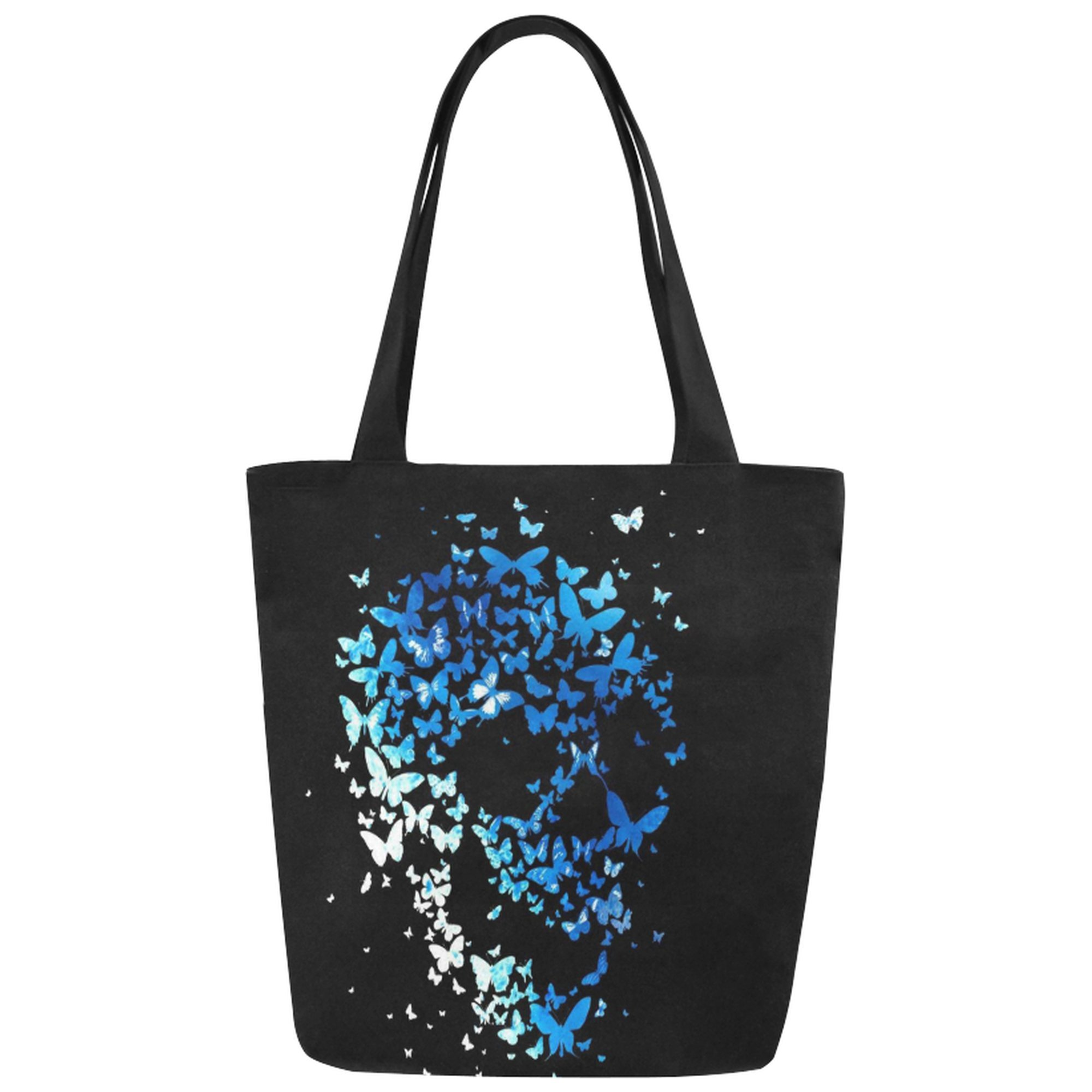 InterestPrint Blue Butterfly Skull Canvas Tote Bag Shoulder Handbag for Women Girls