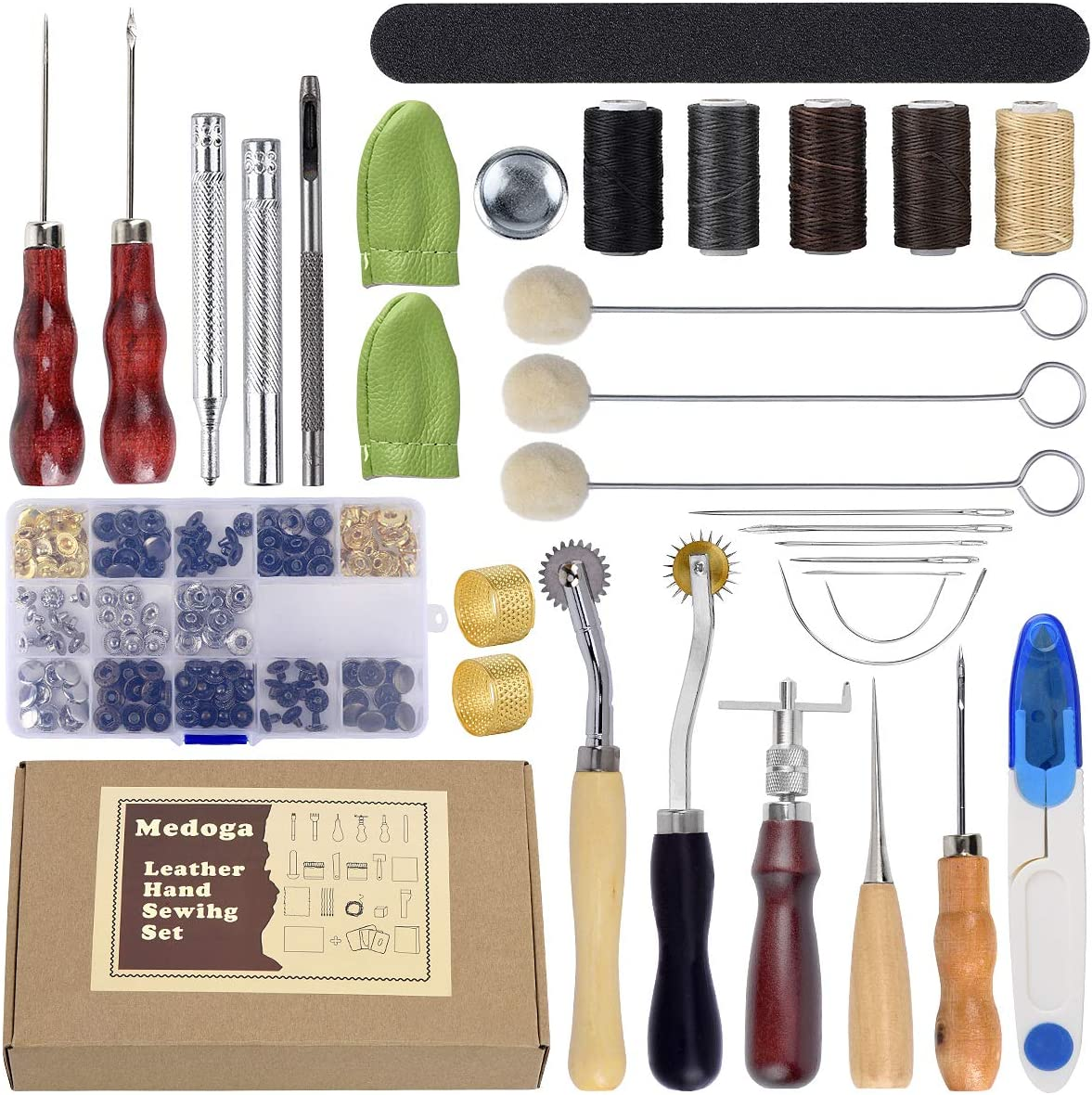 Outils de travail pour le cuir 28 outils de bricolage en cuir avec selle Groover Pointer les outils /à aiguille