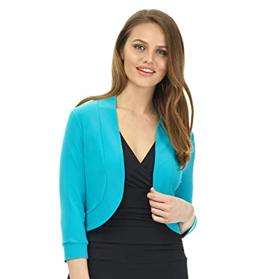 Rekucci Women's Soft Knit Rounded Hem Stretch Bolero Shrug at Women's Clothing store