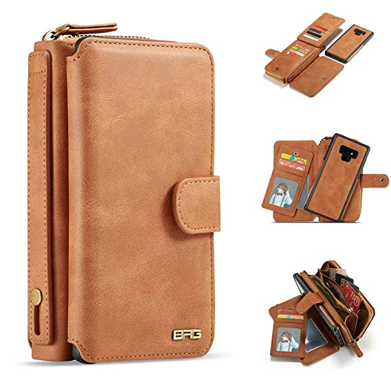 Galaxy Note 9 Case, Detachable PU Leather Card Slots Mirror Zipper Wallet Flip Protective Case