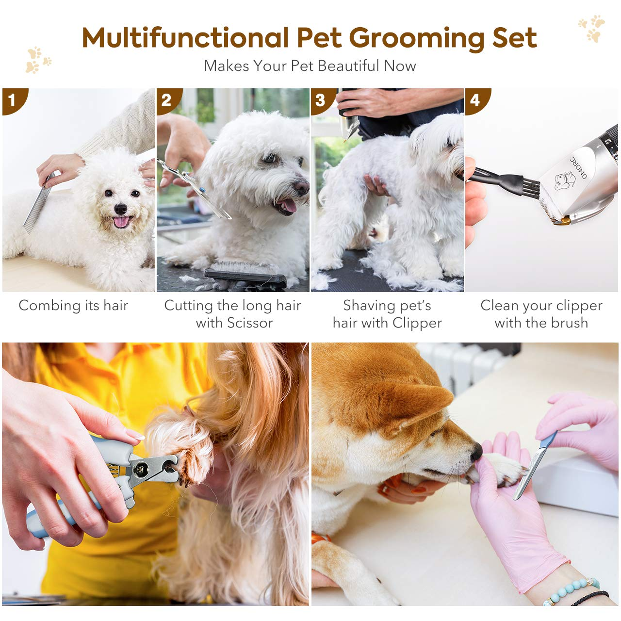 OMORC Dog Clippers Cordless Adjustable Pet Clippers Dog Hair Trimmer Rechargeable Cat Shaver Pet Grooming Professional Low Noise Dog Grooming kit with 8 Kinds Tools by OMORC (Image #7)