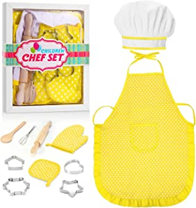 ATOPDREAM Kids Apron 11 Pcs Kids Cooking Supplies Includes Baking Set Chef Hat and Apron for Girls, Oven Mittand Baking Tools for Kids Cooking Girls Age 9-12, Yellow