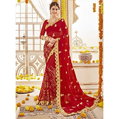 f9f6cf429b Amazon.com: Triveni Embroidered Faux Georgette Red Saree for Women with  Unstitched Blouse| Indian Sari | Ethnic Traditional Party Wear: Clothing