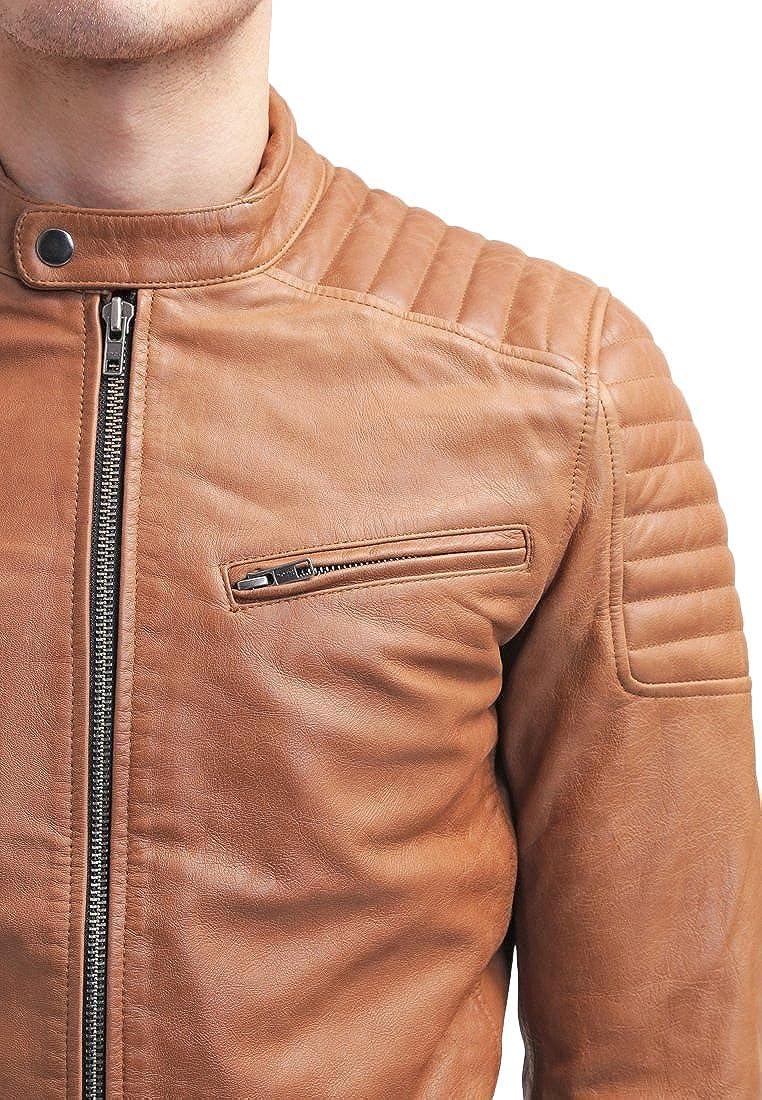 Kingdom Leather Mens Leather Jacket Slim Fit Biker Motorcycle Genuine Lambskin Jacket Coat X1450