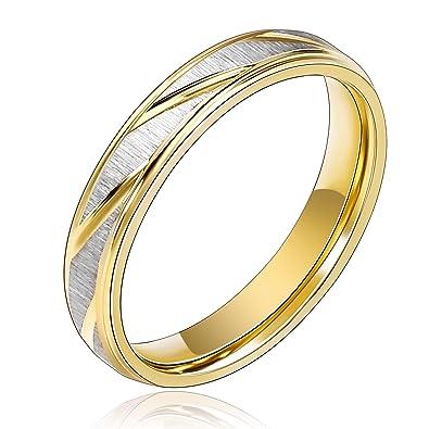 Beydodo Edelstahl Paar Ringe Fur Liebhaber 6 4mm Silber Vergoldet
