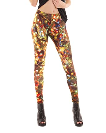 Faux Real Womens Christmas Leggings At Amazon Women S Clothing Store
