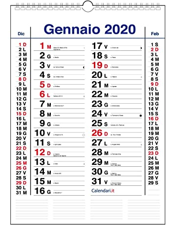 Calendario Verticale 2020.Calendari Da Muro Amazon It