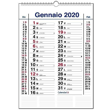 Calendario Gennaio 2020.Calendario 2020 Da Muro Mod Olandese 3 Mesi Per Pagina