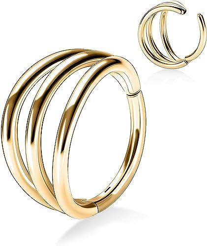 20 Gauge Hoop Double Septum Ring Septum Clicker Helix Hoop Daith Ring Surgical Steel Septum Ring