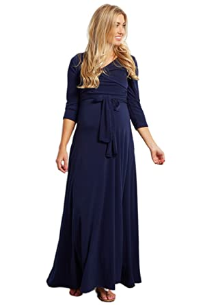 6b076f8c5e Image Unavailable. Image not available for. Color  PinkBlush Maternity Navy  Blue Draped 3 4 Sleeve Maxi Dress ...
