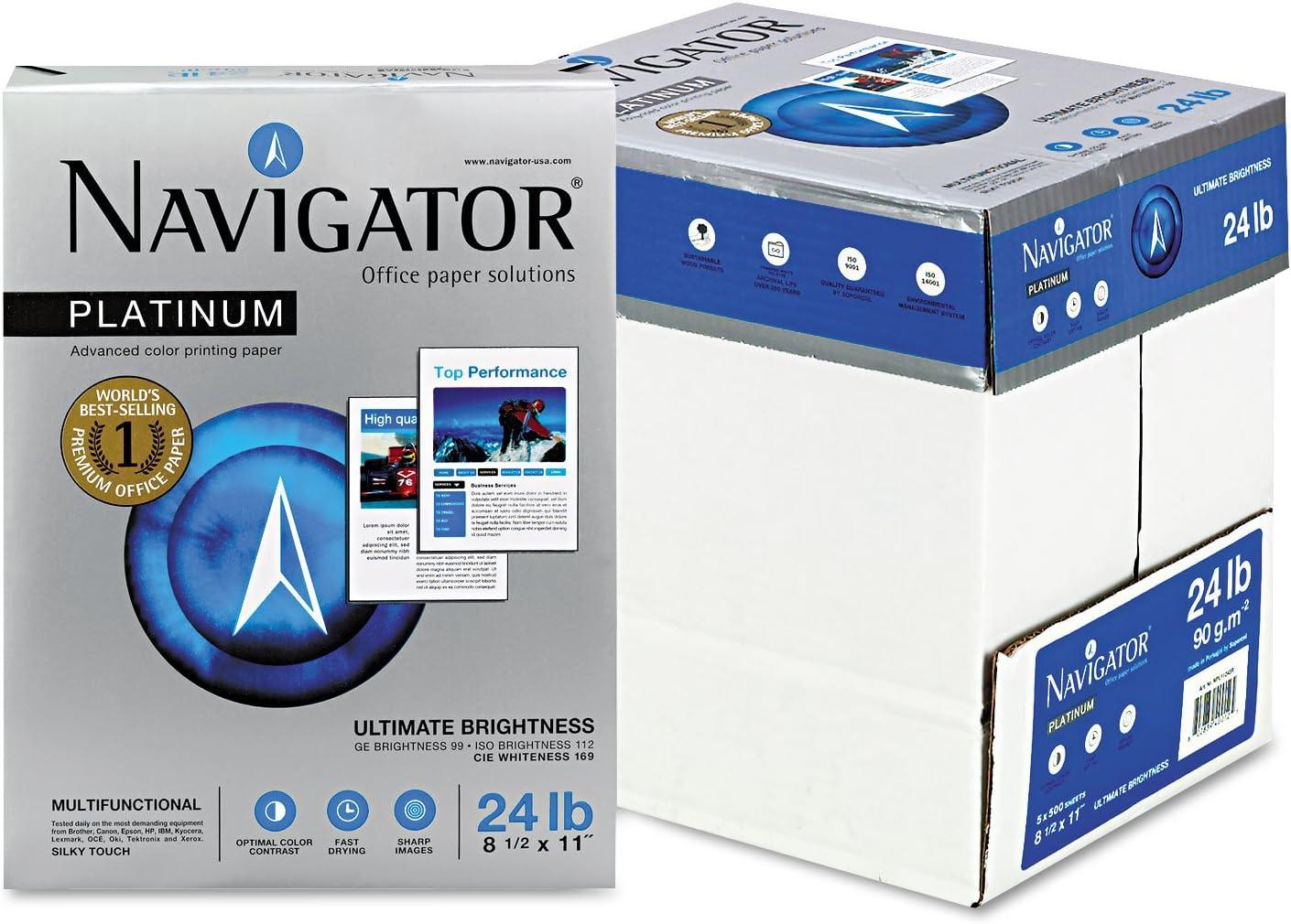 Navigator Platinum Paper 99 Brightness 24lb 8-1//2 x 11 White 5000//Carton NPL1124