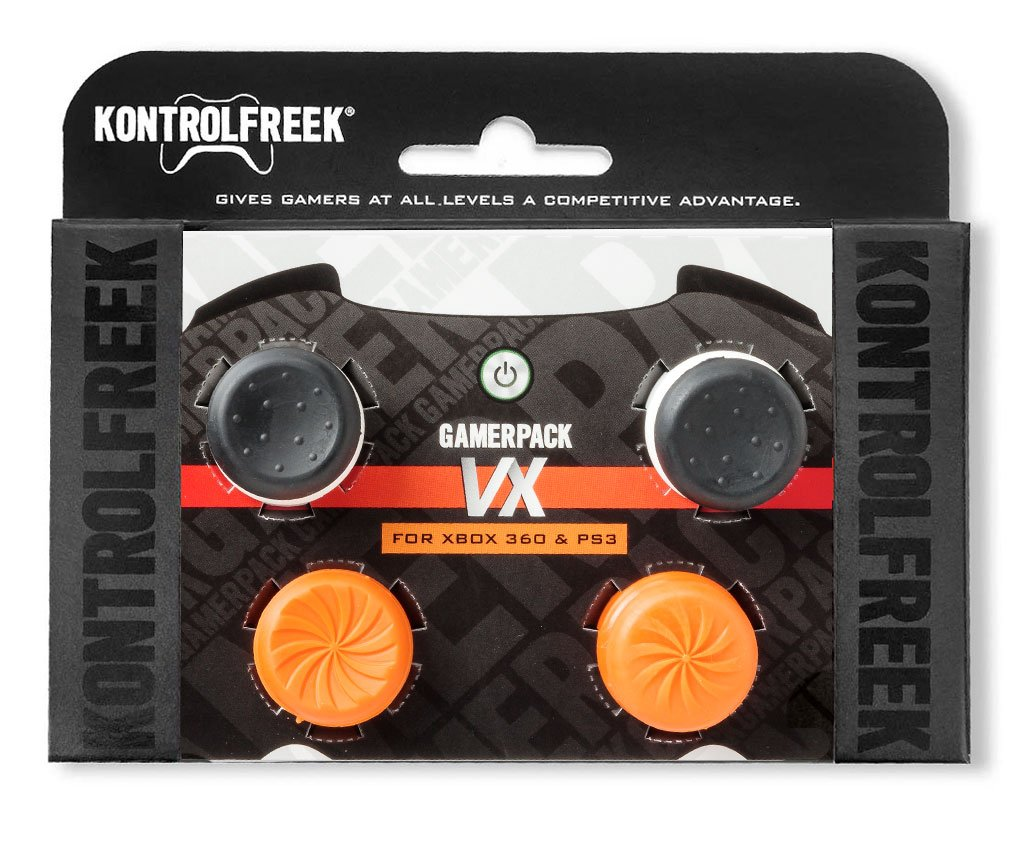 KontrolFreek GamerPack VX for PlayStation 3 (PS3) and Xbox 360 Controller | Performance Thumbsticks | 3 High-Rise, 1 Mid-Rise Concave | Black/Orange by KontrolFreek