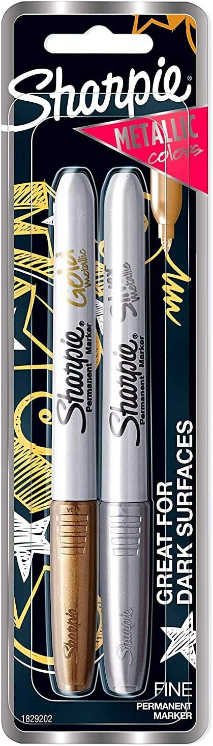 Sharpie Metallic Fine Point Permanent Marker 1829202 Limited Edition 2-Pack Assorted Colors