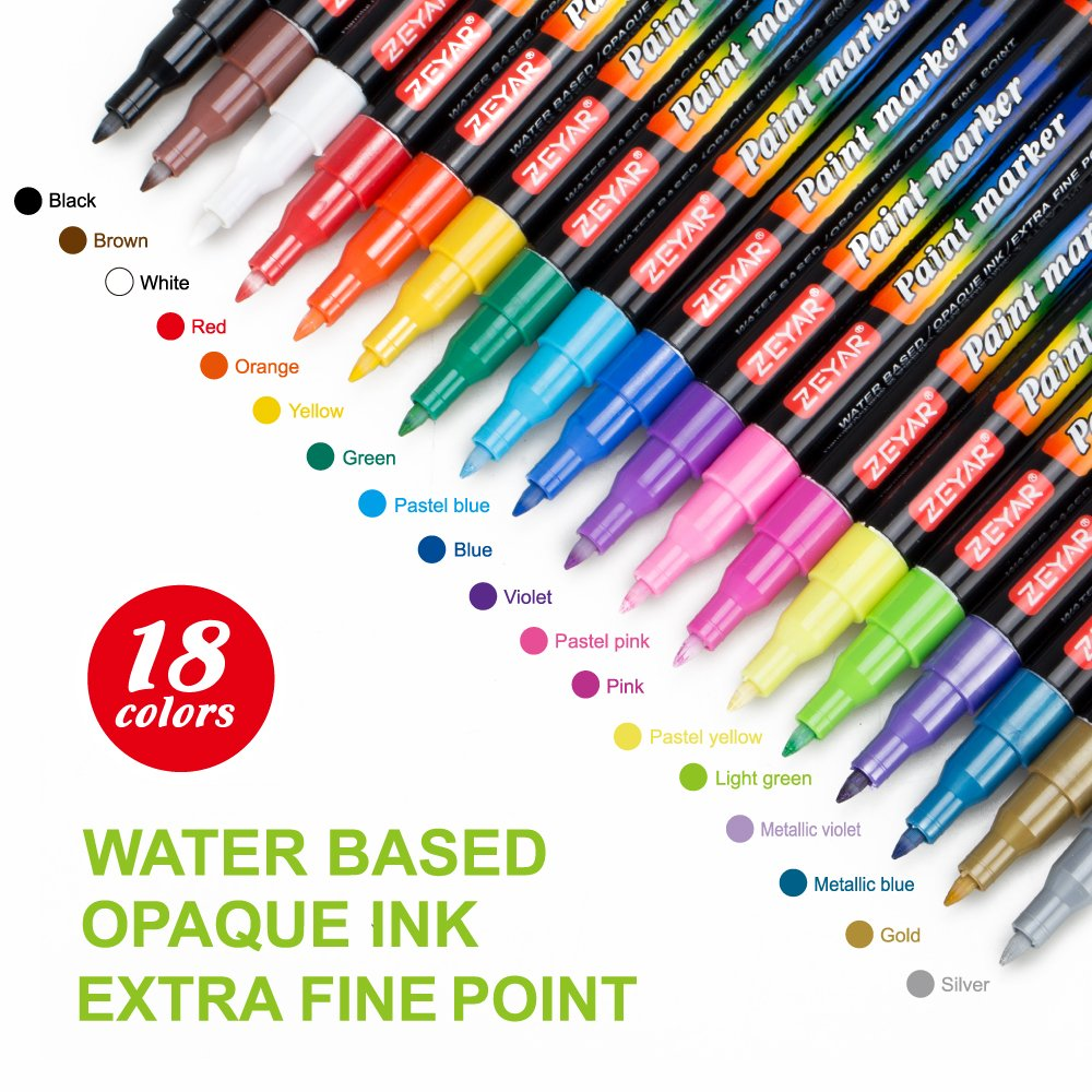 Premium Acrylic Paint Pen by ZEYAR,Water based,Extra Fine Point,Nylon Tip,Multiple colors,Odorless,Acid Free and Safe,Opaque Ink,Set of 18,Environmental friendly,Professional Paint Marker Manufacturer