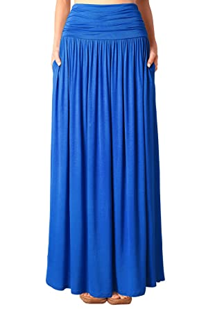 506cf9381aa1dd Djt Jupe en Jersey Maxi Long Taille Extensible Poches- Femme
