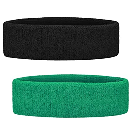 GOGO 2PCS Terry Cloth Sports Headbands Sweat Bands for Working Out Black    Green ff6d2fcf1f4