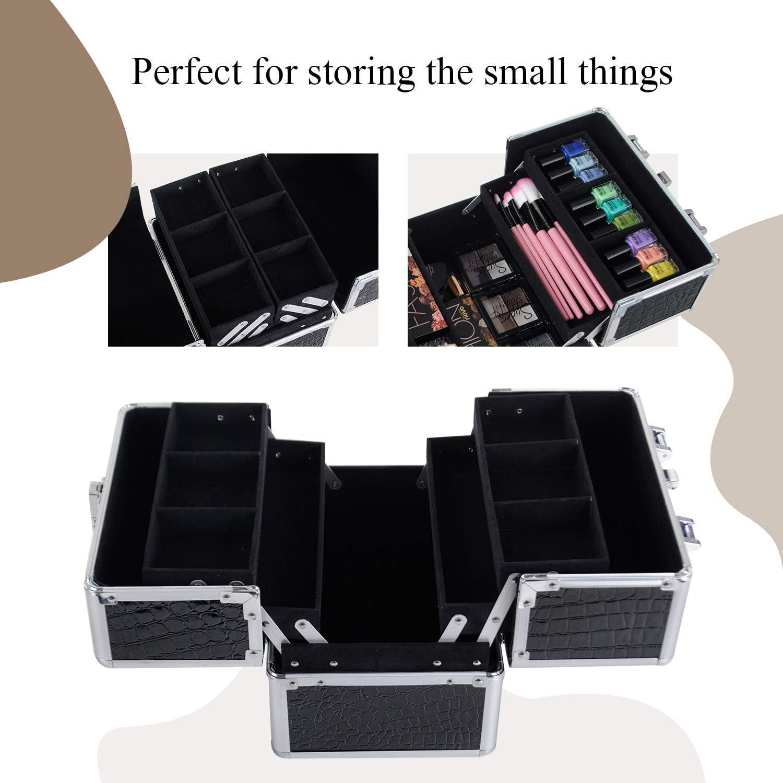 Kosmetikkoffer Beauty Case Etagenkoffer Multikoffer Friseurkoffer Schminkkoffer Schmuckkoffer mit Schloss Schwarz 25x18,5x23cm