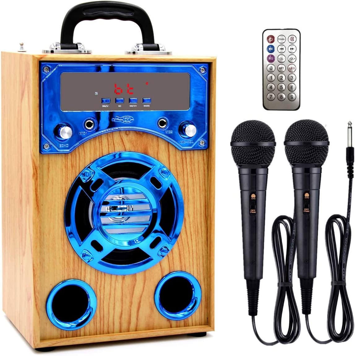 IndeCool Bluetooth Karaoke Machine with 2 Microphones, Wooden Wireless Portable Karaoke Machine Music MP3 Player for Home Outdoor Trip Party Gift (Blue)