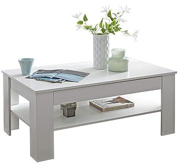 Wohnling Design Couchtisch Connie 110x48x65 cm mit Stauraum & Ablage Holz  weiß | Sofatisch eckig | Kaffeetisch modern | Loungetisch groß & hoch | ...