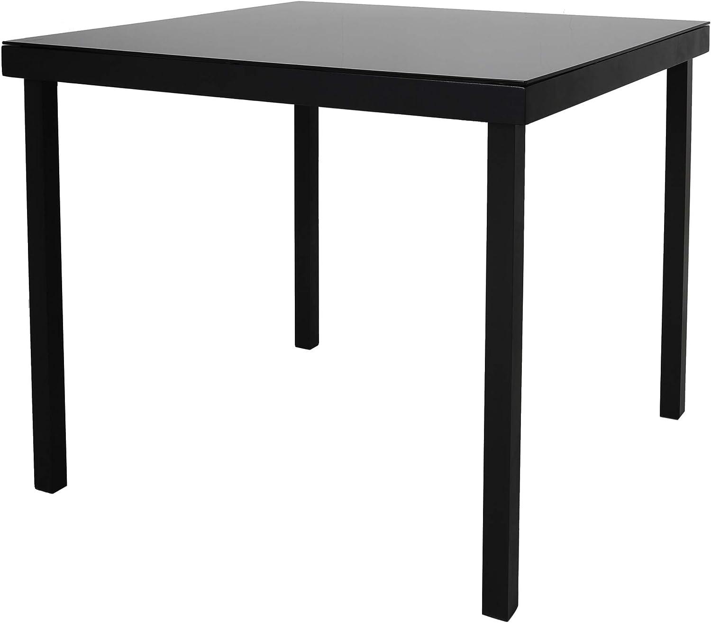 Chicreat - Mesa de jardín de aluminio Korfu, 90 x 90 x 74 cm, negro