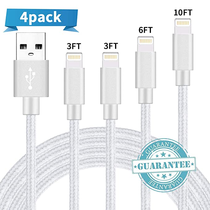 BULESK Compatible with Phone Cable,Phone Charger 4Pack 3FT 6FT 10FT 10FT Nylon Braided Compatible with Phone Xs//XS Max//XR//X//Phone 8 8 Plus 7 7 Plus 6s 6s Plus 6 6 Plus Pad Pod Nano Black White