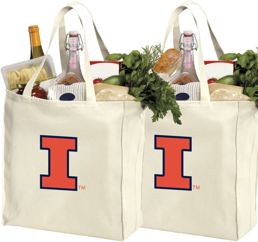 Reusable University of Illinois Shopping Bags or Illini Grocery Bag 2Pc Set Natural Cotton