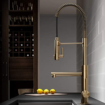 Kraus KPF-1603BG Artec Pro 2-Function Commercial Style Pre-Rinse Kitchen  Faucet with Pull-Down Spring Spout and Pot Filler, 24.75 Inch, Brushed Gold  ...