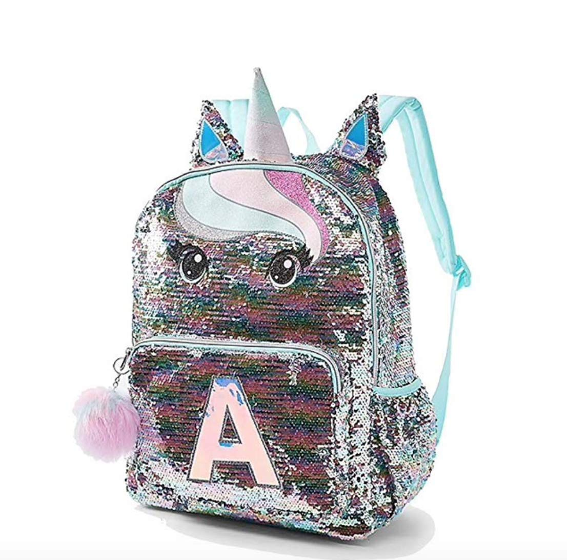Justice Pastel Unicorn Flip Sequin Initial Backpack Letter B