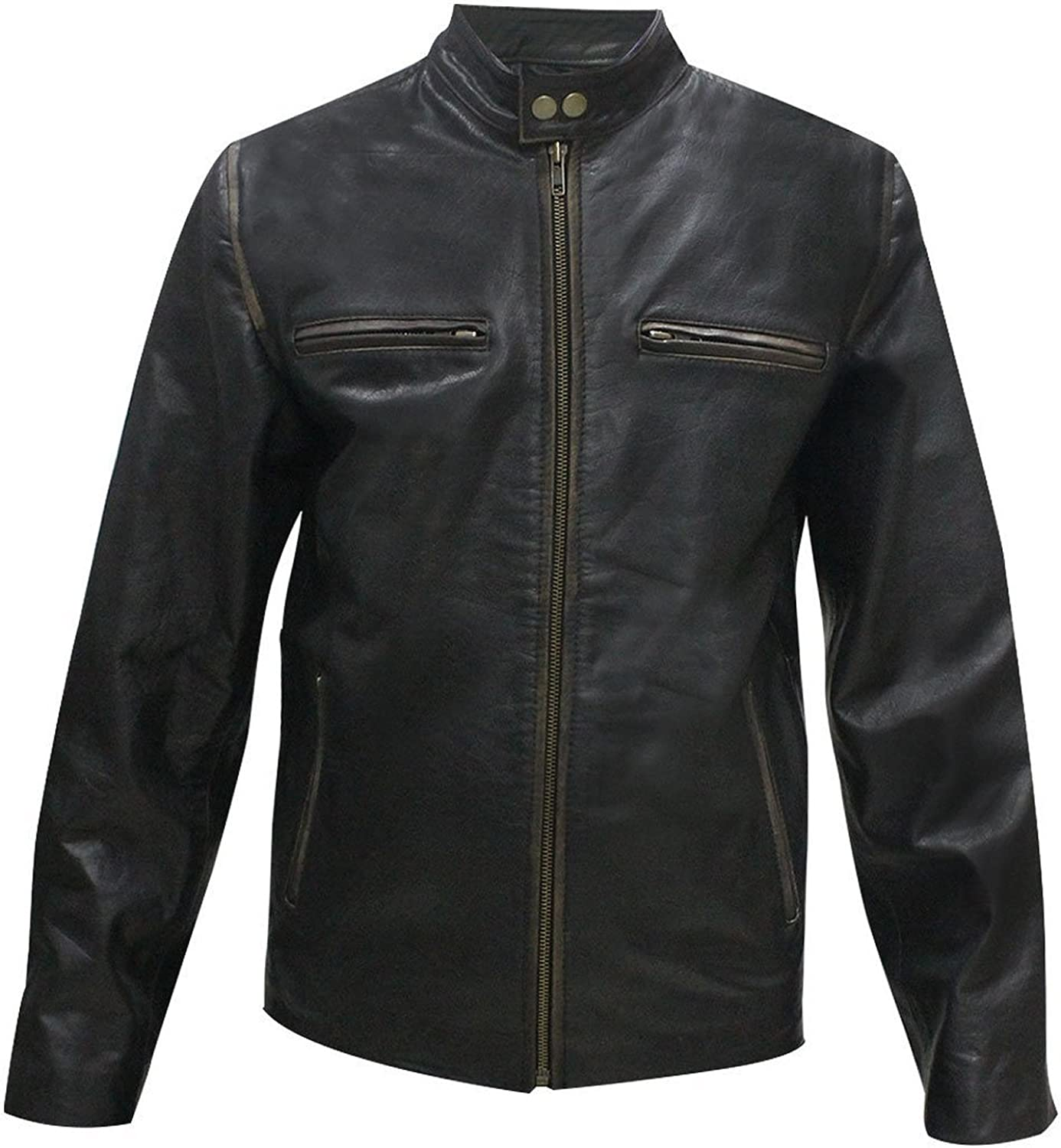 LP-FACON Mark Wahlberg Daddy's Home Distressed Black Leather Jacket