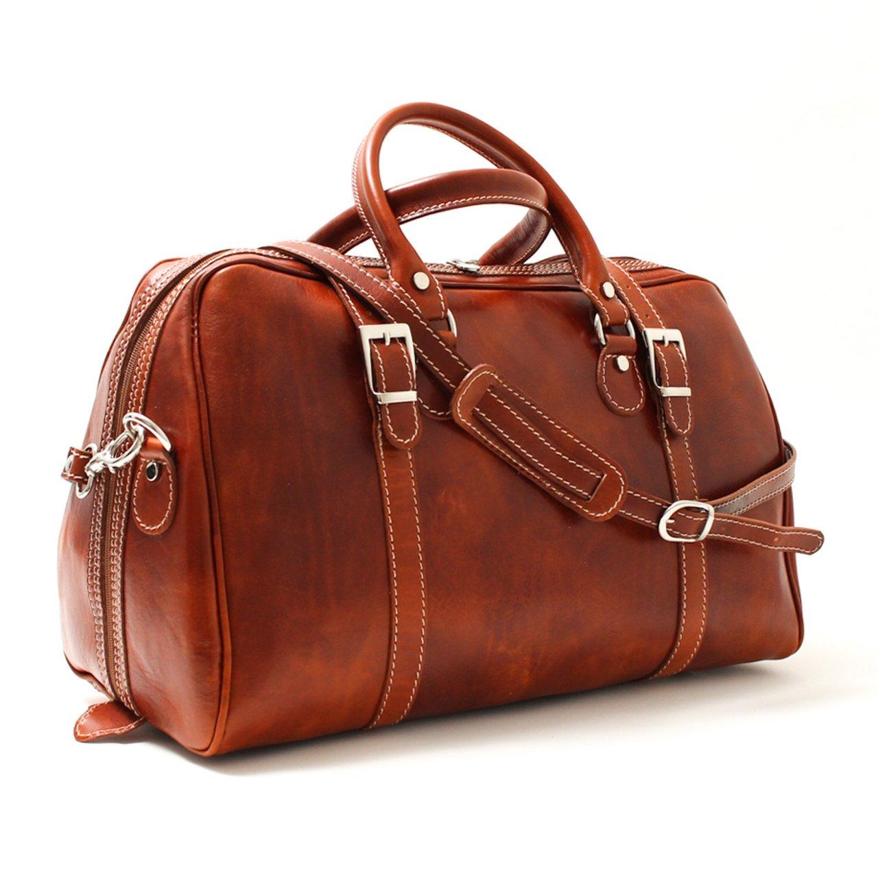 Alberto Bellucci Unisex Italian Leather Milano Carry-on Wayfarer Duffel Bag in Honey