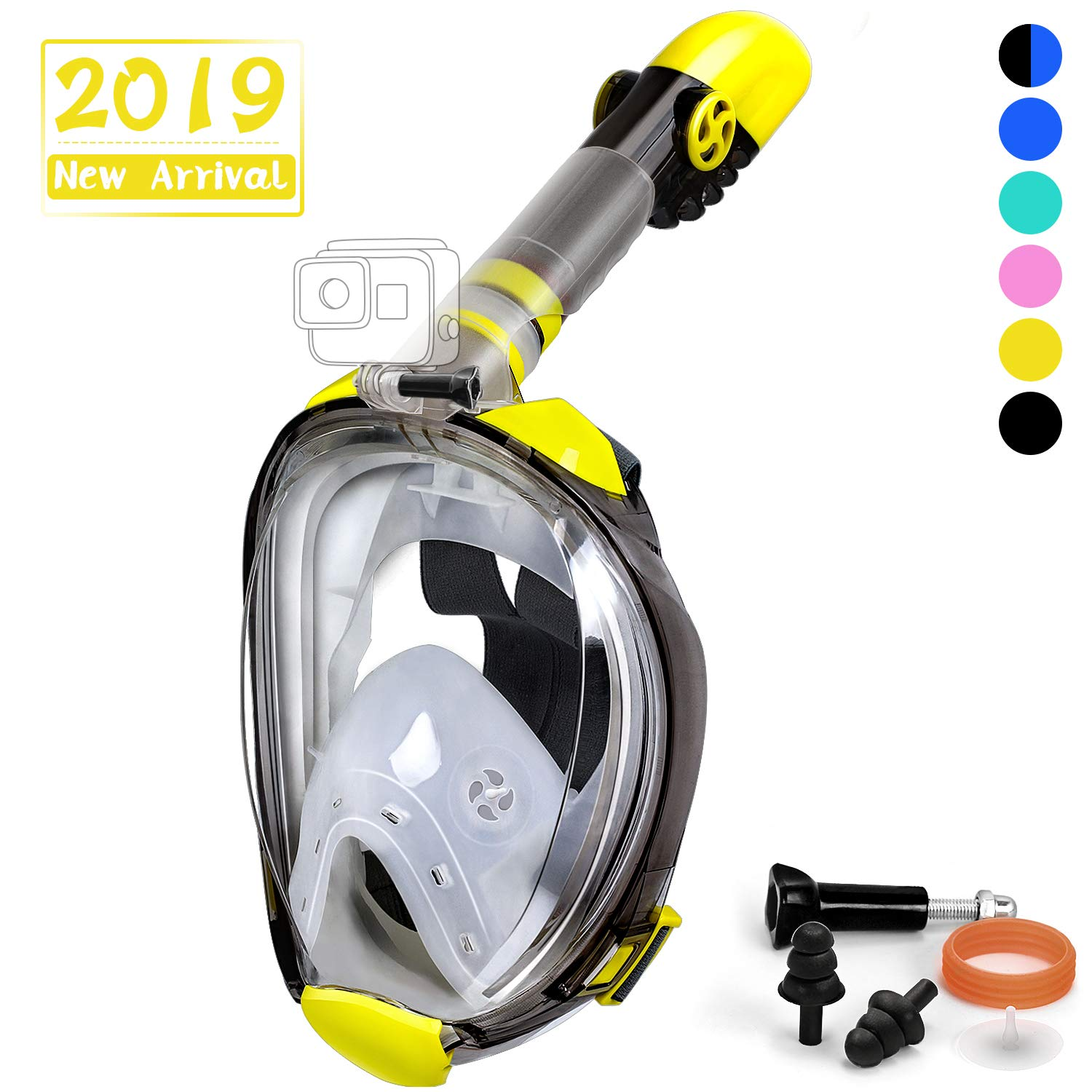 OUSPT Full Face Snorkel Mask, Snorkeling Mask with Detachable Camera Mount, Panoramic 180° View Upgraded Dive Mask with Newest Breathing System, Dry Top Set Anti-Fog Anti-Leak (Yellow, S/M) by OUSPT