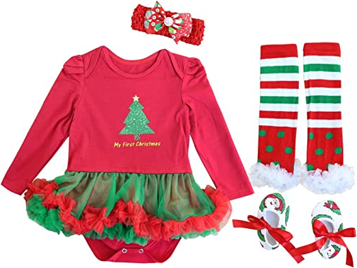 FANCYINN Baby Girls Christmas Tutu Tulle Dress My First Christmas Dress Toddlers Xmas Romper Dress with Headband Leg Warmers /& Shoes 0-24 Month
