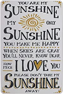 ARTCLUB You are My Sunshine i Love You, Metal Tin Sign, Vintage Plaque Poster Home Wall Decor