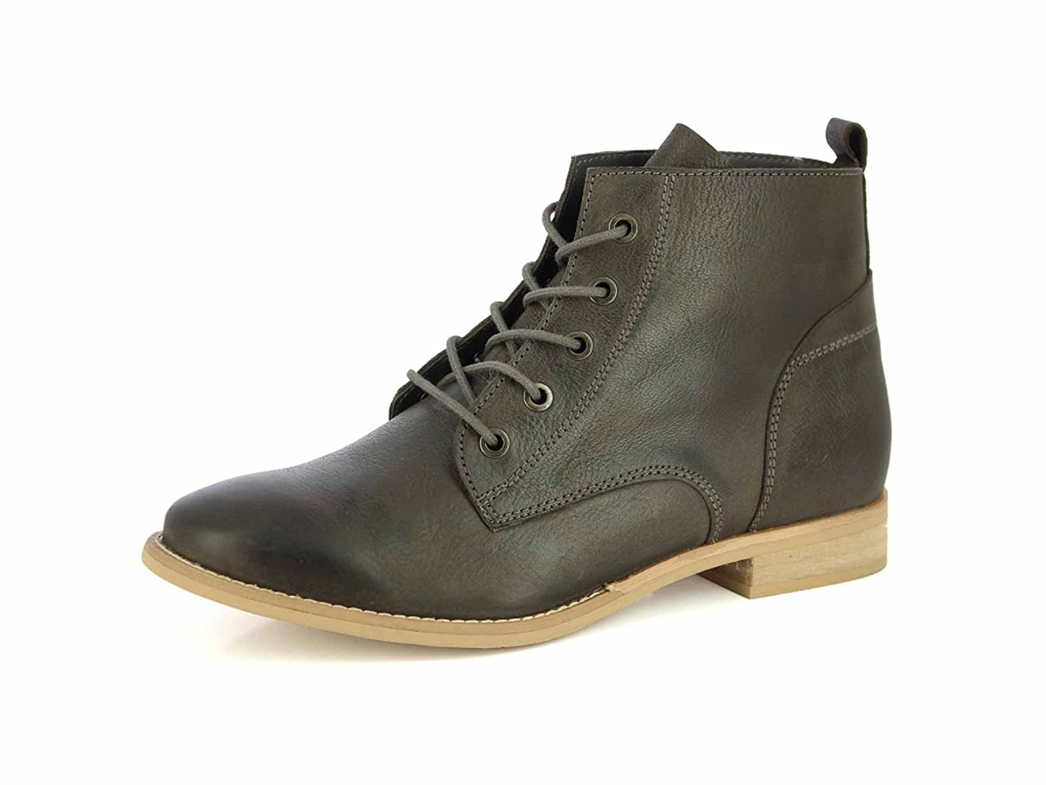 ALBERTO TORRESI Leather Ankle Boots For Women Lace Up Casual Durbey Shoes Combat Boots Booties B0742CT45R 8.5 B(M) US|Grey