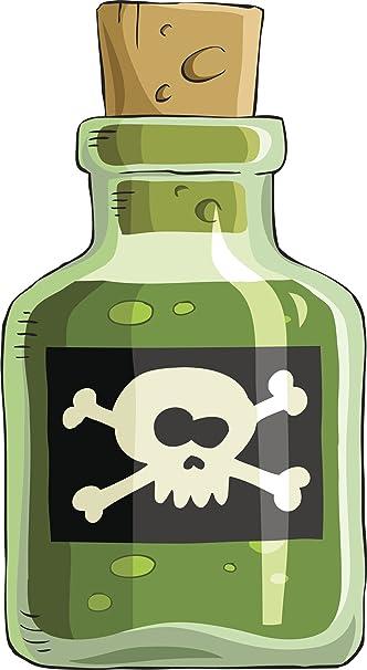amazon com cartoon bottle of poison skull black green brown white
