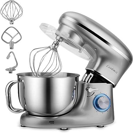 Cookmii Batidora Amasadora, Amasadora de Bajo Ruido, Robot de Cocina Multifuncional, Amasadoras de Pan, Batidora Eléctrica de 6 Velocidades con Recipiente de 5.5 Litros Gancho, Baterista, Látigo: Amazon.es: Hogar