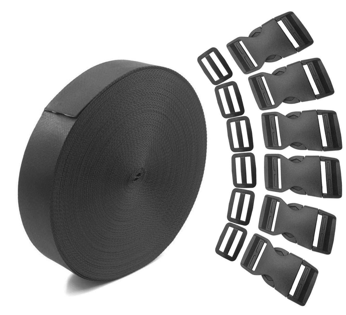 Newzc 5,5/m 1/rotolo in nylon fettuccia e regolazione 10/pairstri-glide clip 6/pezzi piatto fibbie a sgancio laterale per 2,5/cm di larghezza/ /DIY per zaino bagaglio di cinghie da polso riparazione