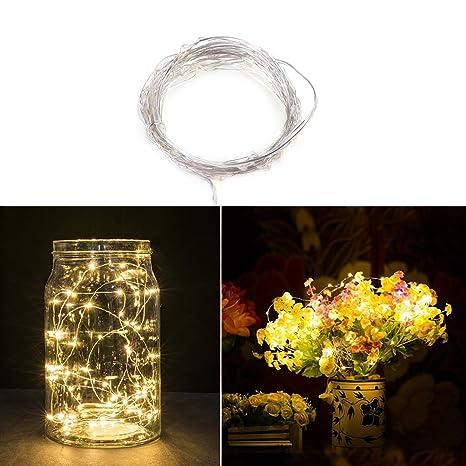 Fairy String luces de alambre de cobre alambre luces 50 LEDs de pilas con control remoto