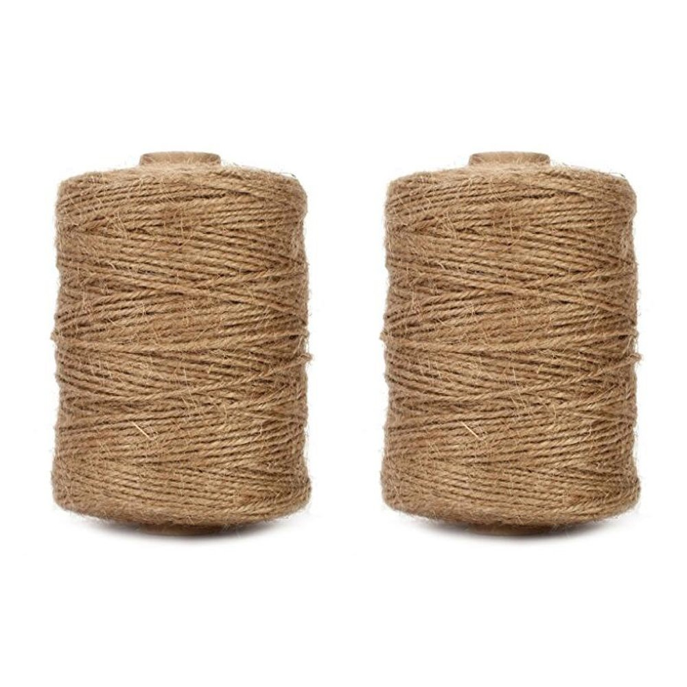 Tenn Well 1000 Feet Natural Jute Twine, 2PCS 3Ply Art and Craft Twine for Gifts, DIY Crafts, Festive Decoration, Bundling, Gardening by Tenn Well