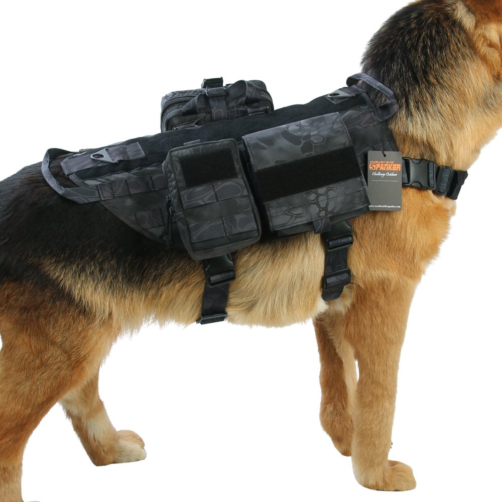 TYP XL TYP XL Excellent Elite Spanker Tactical Dog Molle Vest Harness Training Dog Vest Handle with 23 Detachable Pouches(TYP-XL)