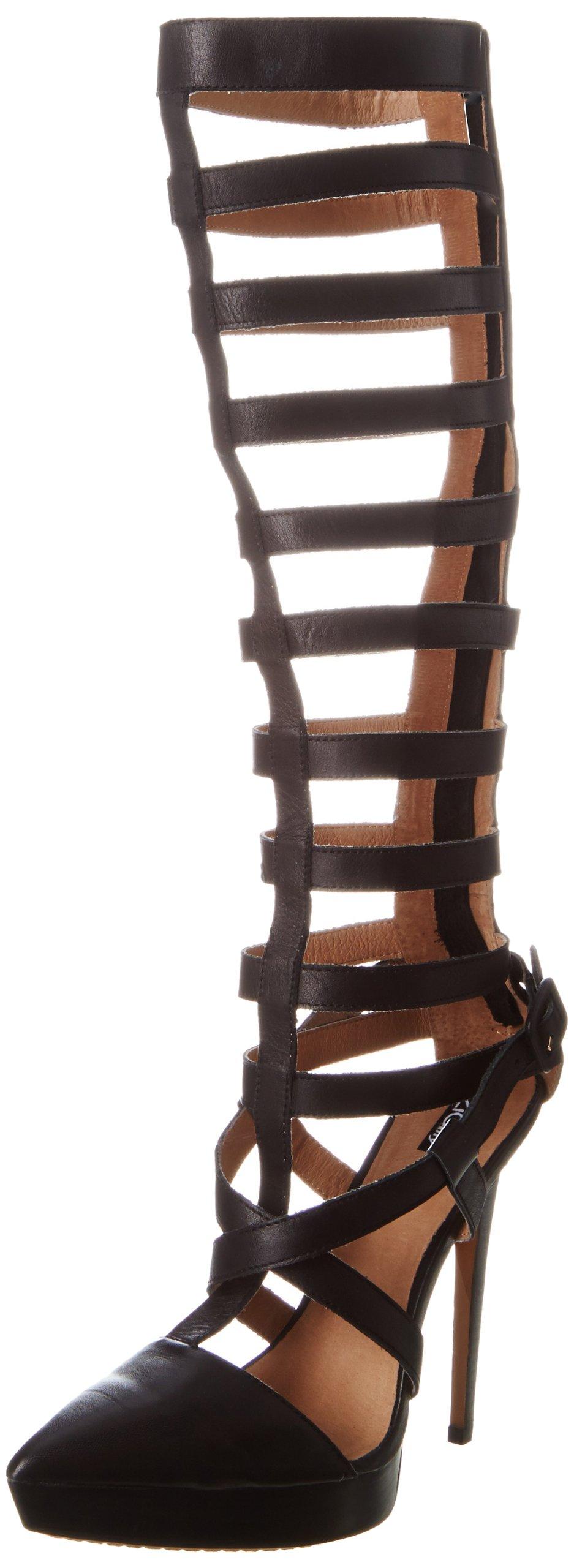 ZiGiny Women's Proxy Dress Sandal,Black leather,8 M US