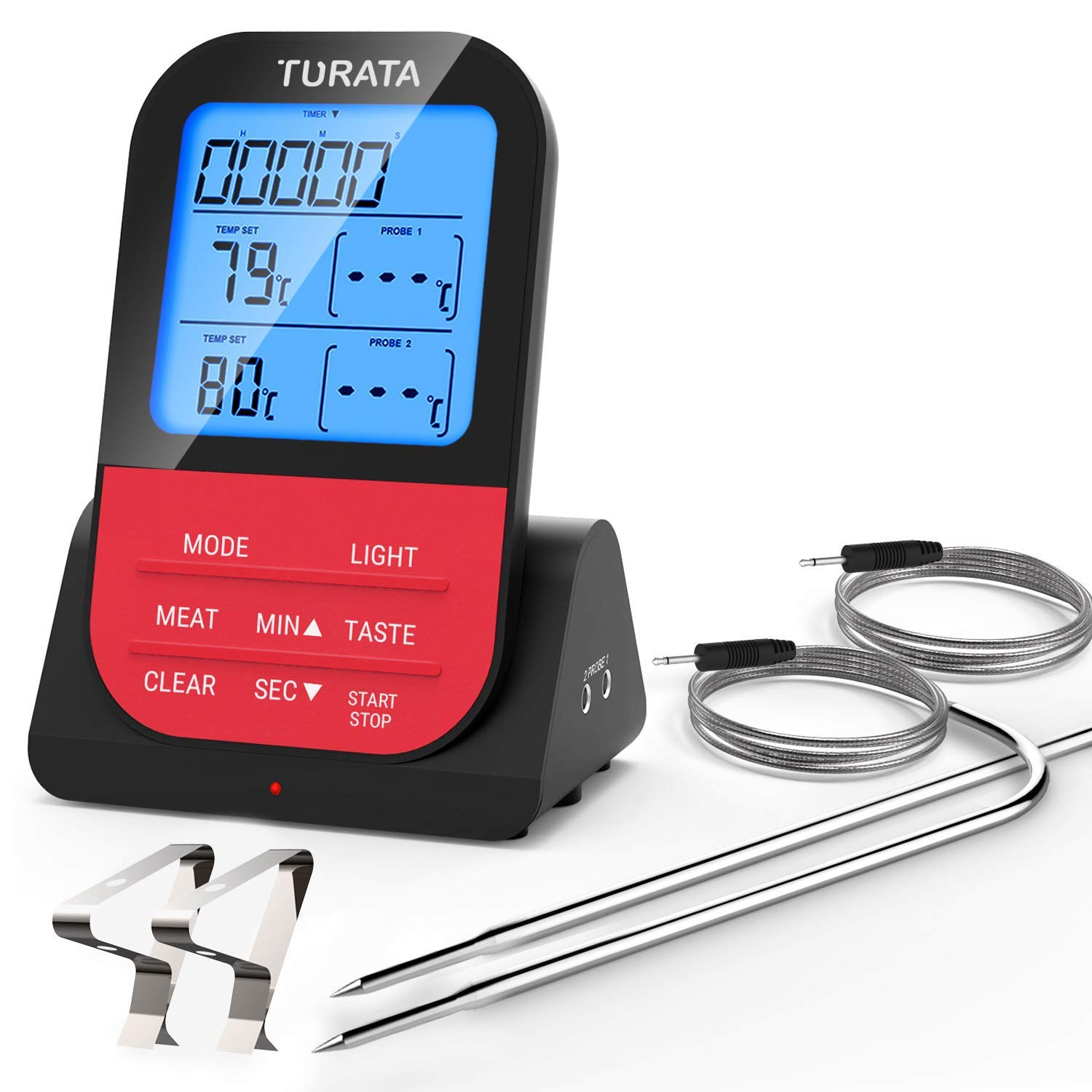 TURATA Meat Food Thermometer, Wireless Remote Instant Read Kitchen Cooking BBQ Thermometer with Dual Probe, 260 Feet Sensing Range, Timer and Alarm Monitor for Grill Smoker Oven