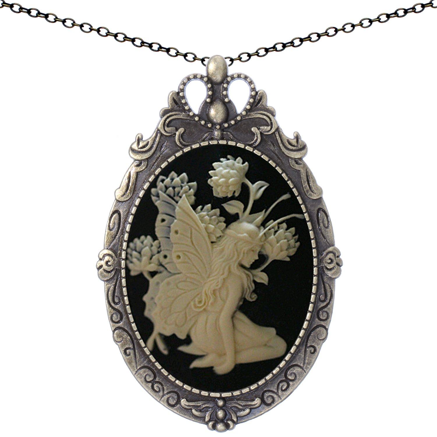 Yspace Lotus Angel Fairy Brooch Antique Brass Shield Shape Pendant Necklace Two Way Jewelry 20'' Chain Pouch Gift