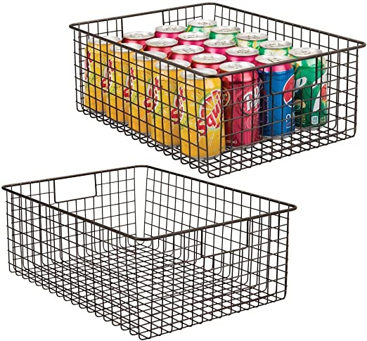 mDesign Set of 2 Wire Basket with Handles — All Purpose Basket for Kitchen and —
