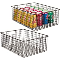 mDesign Farmhouse Decor Metal Wire Food Organizer Storage Bin Baskets with Handles for Kitchen Cabinets, Pantry…